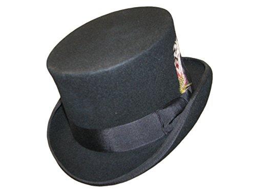 Noir Gladwin (Bond 100% laine événement de mariage Chapeau haut-de-forme avec bandeau en cuir véritable et doublure en satin - Noir - petit