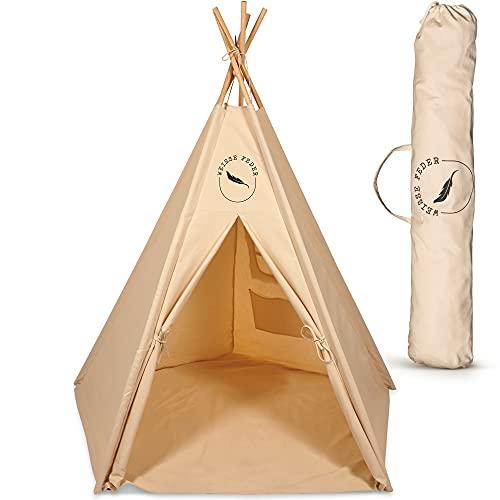 WEISSE FEDER Tipi Zelt für Kinder | Spielzelt für Mädchen & Jungen | Ideal für jedes Kinderzimmer | Besonders stabil & robust | Tipi Kinderzelt für drinnen und draußen I Jetzt selbst anschauen!
