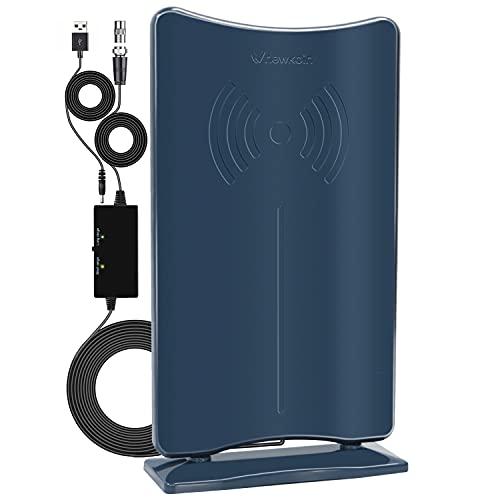 N NEWKOIN 室内 HD テレビ アンテナ,【最新強化版】室内アンテナ 360°の角度で電波を受信できる 地デジアンテナ 卓上 TV アンテナ UHF VHF対応 ブースター 120KM受信範囲 USB式 避雷 設置簡単-ダークブルー