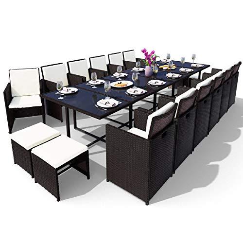 Swing & Harmonie Polyrattan Sitzgruppe Esstisch Lounge Sitzgarnitur Essgruppe Gartenmöbel Set (17-Teilig, Schwarz)