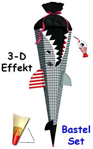 alles-meine.de GmbH 3-D Effekt _ BASTELSET Schultüte -  Fisch / Hai Happen  - 85 cm - mit Holzspitze - Zuckertüte - Set zum selber Basteln - 6 eckig / schwarz weiß - Jungen & M..