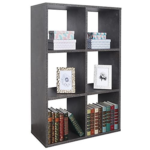 RICOO Standregal (WM078-BG) 97 x 65 x 30 cm Holzregal Grau Bücherregal Organizer Bücherschrank Raumteiler Pflanzenregal Wohnzimmer