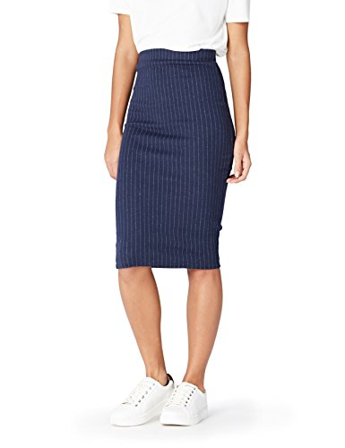 Marchio Amazon - find. Gonna a Tubino a Righe Donna, Blu (Navy), 42, Label: S