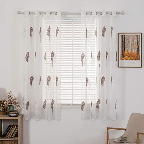 MIULEE Sheer Vorhang Voile Blumen Stickerei Vorhänge mit Ösen transparent Gardine 2 Stücke Ösenvorhang Gaze paarig schals Fensterschal für Wohnzimmer Schlafzimmer 145 cm x 140 cm(H x B) 2er-Set