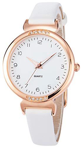 Relojes de Mujer Relojes de Mujer Blancos Caja de Oro Rosa con Correa de Cuero Blanco Bisel de Diamantes Número árabe Reloj de Pulsera Moda Simple