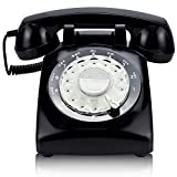 ECVISION Black Color Vintage 1960's Style Rotary Retro Old Fashioned Rotary Dial Home Telephone.