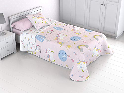 B&G BAIT&GAN Colcha Bouti Infantil Reversible 100% con Funda de cojín y Tacto algodón Unicornio Little (Cama 105 (200X270))