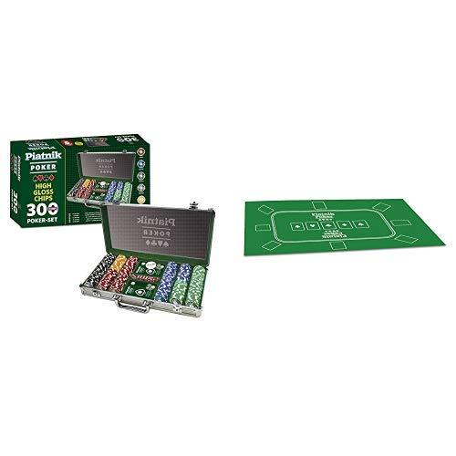 Piatnik 7903 - Poker Set 300 High Gloss Chips & 30963 - Poker Tischauflage 60 x 90 cm