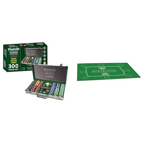 Piatnik 7903 - Poker Set 300 High Gloss Chips &  30963 - Poker Tischauflage 60 x 90 cm