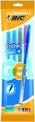 Bic Cristal Gel + Penna Gel Punta Media 0,7 mm Confezione 3 Penne Colori Assortiti