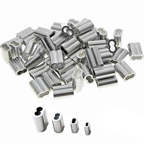 Dancepandas Virolas de Aluminio 200PCS Casquillos de Aluminio Manguitos de Presion Clips...