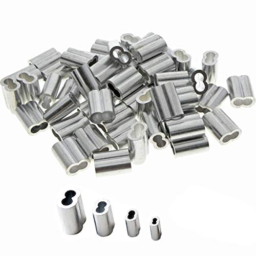 Dancepandas Aluminium Pressklemme 2mm 200PCS Aluminiumhülsen Clips Aluminium Crimpschlaufe für Drahtseil und Kabel (4 Größen)
