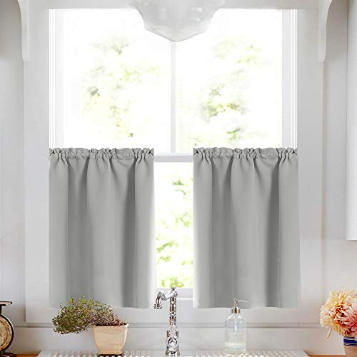 Gray Tier Curtains Room Darkening Thermal Insulated Window Treatment Tier Curtain Set Rod Pocket Drapes Tier Curtain for Kitchen Living Room 34W by 36L Inches Grey 1 Pair