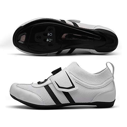 LU-Model Premium Triathlon Fahrradschuhe - Ultraleichte, atmungsaktive und Fiberglas Sohle   Der schnellste Schuh in der Übergangszone! White-47