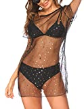 Ekouaer Swimsuit Cover Ups Plus Size Beach Coverup Dress Sexy Mesh Bathing Suit Cover Up Black