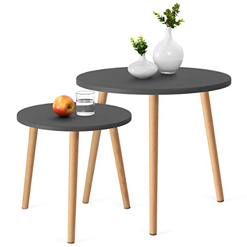COMIFORT Stacking End Tables - Nordic Style Nesting Coffee Tables, Modern and Stylish, Very Durable, Set of 2 Round Tables, Grey and 100% Natural Beech