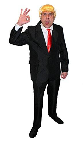 ILOVEFANCYDRESS Donald Trump KOSTÜM VERKLEIDUNGS=BEINHALTET=Blonde PERÜCKE+ROTEN Krawatte+SCHWARZEN Anzug=DIE PERFEKTE AMERIKANISCHE Party Fasching Karneval = Anzug IN Large