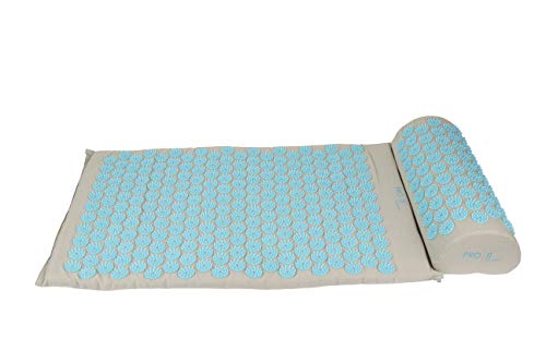 PRO 11 WELLBEING Acupressure mat and Pillow Set with Carry Bag (Grey/Blue)