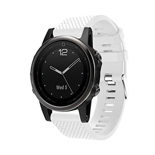 NPRADLA Ersatz Silizium Watch Strap Watch Band Soft Kit Quick Release Band Band für Garmin Fenix 5S GPS Uhr, weiß, longitud: 225 mm