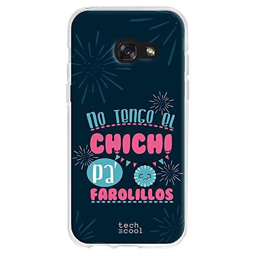Funnytech® siliconen beschermhoes voor Samsung Galaxy A3 2017 [flexibele siliconengel, exclusief design] spreuk Chichi lantaarns blauw