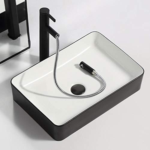 XJTNLB Aufsatzwaschtisch Rechteckig Keramik Schwarz+Weiß Waschtisch Handwaschbecken Waschbecken Bad-ohne Wasserhahn_500*340*_110MM