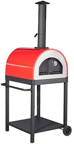 Megashopitalia Forno a Legna per Pizza in Acciaio da Esterno Barbecue Giardino con Refrattario