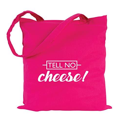 JUNIWORDS Jutebeutel, Wähle ein Motiv & Farbe, Tell no cheese! (Beutel: Pink, Text: Weiß)