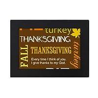 感謝祭の日の秋のパイのパターン デスクトップフォトフレーム画像ブラックは、芸術絵画7 x 9インチ