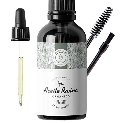 100ml Aceite de ricino orgánico, prensado en frío, puro - Estimula y fortalece el crecimiento del cabello, barba, pestañas, cejas, uñas, cutículas y piel - Botella de vidrio, pincel y brocha