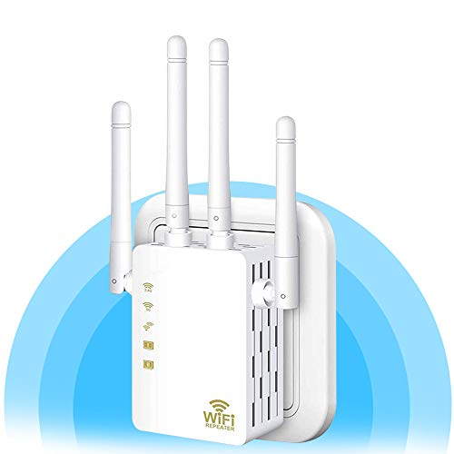 WiFi Repeater - WiFi Booster,Signal Extender, Coverage Up to 2500 sq.ft,1200 Mbps 2.4 & 5GHz Wireless Internet Amplifier - Covers 20 Devices with 4 External Advanced Antennas