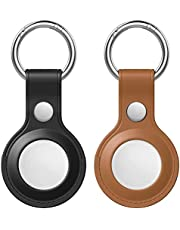 Orchid M Protective Case for AirTag 2021, 2-Pack Genuine Leather Tracker Holder with Key Chain, Easy Carry AirTag Cover for Keys, Backpacks, Liner Bags (Black&Brown)