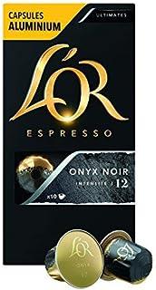 L'OR Espresso Onyx Intensity 12 - Nespresso Compatible Aluminium Coffee Capsules, 10 x 52 gm
