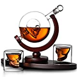 Zxqiang Juego De Decantador De Calavera,Incluye 850ml Dispensador De Vino Tinto Sin Plomo,2x80ml Vasos De Whisky Y Base De Madera,Decoración Creativa De Vino Vidrio para Licor,Whisky,Vodka Bourbon