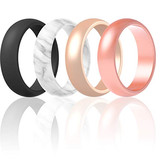 Silicone Rings Wedding Bands For Women 4 Pack (Black, Marble, Light Rose Gold, Rose Gold, 5.5 - 6 (16.5mm))