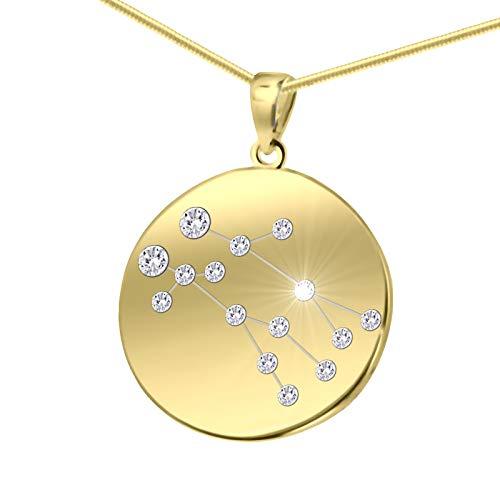 LillyMarie Damas Plata oro Recubierto Colgante con Signo del Zodiaco Géminis Swarovski Elements Longitud-ajustable Papel de Regalo Regalos Cumpleaños Para Mujeres