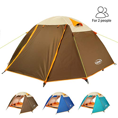 ZOMAKE Portatile Tenda Campeggio Impermeabile 2 Persone, Four Seasons Tende da Trekking per Famiglie (Marrone/Nuovo)