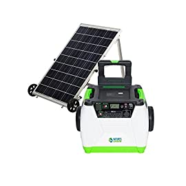 Nature's Generator Gold System 1800W Solar & Wind Powered Pure Sine Wave Off-Grid Generator + 100W Solar Panel, w/Infinite Expandability, Gasless for Refrigerators, RV, Tiny Homes or Emergency Backup 9 <p>Nature's Generator has a built-in 1800W Pure Sine Wave Inverter and Internal 60 AH battery; Helps produce 720 watt hours of total output on a single charge. System includes 1 x 100W Polycrystalline Nature's Generator Power Panel with built-in wheels for ease of transport and movement. Also includes 50ft power panel cable for easily connecting the Power Panel to the Nature's Generator (some assembly required). The Nature's Generator features 3 x 120V AC outlets, 2 x USB ports that produce 3A of combined power , 1 x 12V DC outlet, 1 x Solar Input (200W charge controller built-in) and 1 x Wind Input (300W charge controller built-in). The front of the Nature's Generator also features a light up LCD screen that gives the user a view of the battery level, charging status, output usage (above 100W) and more! The back panel of the Nature's Generator also has a built-in 600-Volt/175 Amp expansion port for connecting an unlimited amount of Nature's Generator Power Pods.</p>