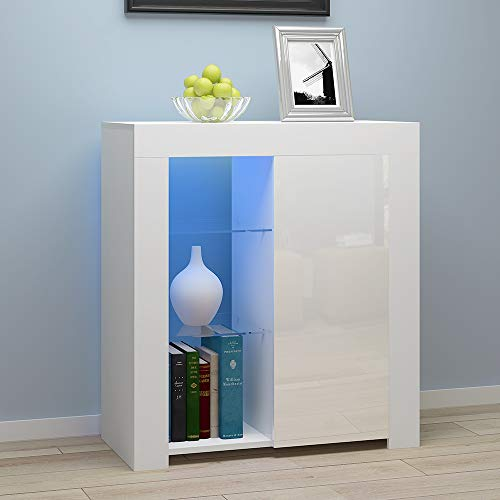 Panana Sideboard Modern Cabinet Matt Body and High Gloss Fronts Sideboard 16colors LED Lighted WxHxL 35x83x75cm (White)