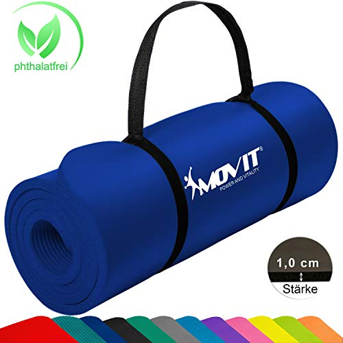 Movit Pilates Gymnastikmatte, Yogamatte, phthalatfrei, SGS geprüft, 183 x 60 x 1,0cm, Yoga Matte in Dunkelblau