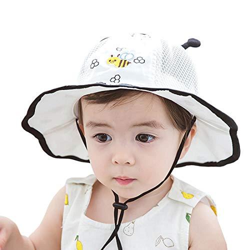 YONKINY 100% Baumwolle Sonnenhut Unisex Kinder Baby Sommer Atmungsaktiver UV Schutz Visier Mütze Sommerhut Strandhut Fischerhut (Weiß#2, Größe 44 für 0-6 Monate)