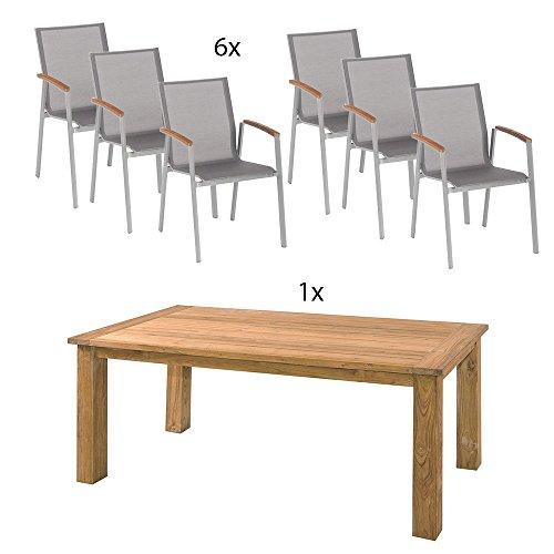 Unbekannt Gartentisch Old Teak 180x90 mit Stapelsessel Top, Gestell Graphit, Bezug Silber-grau, Teakarmlehnen