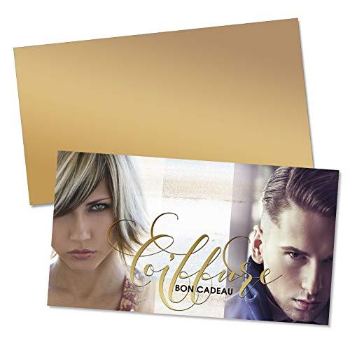 50 Bons cadeaux + 50 enveloppes avec des motifs pour coiffeurs salons de coiffure. Recto à haute brillance. K1203F