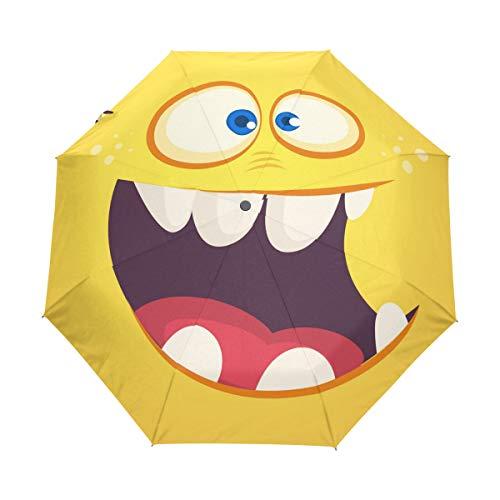 Jeansame Regenschirm mit niedlichem Emoji-Lächeln für Damen, Herren, Jungen, Mädchen