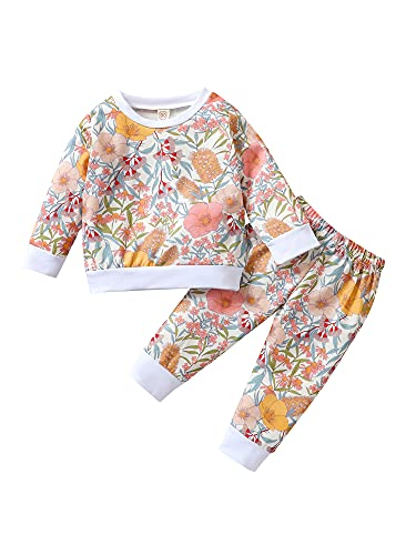 Newborn Infant Baby Autumn Outfits Floral Pullover Sweatershirt Tops Long Pants Autumn Winter Clothes Sets (White, 12-18 Months)