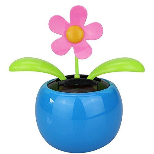 Dosige Solarblume Wackelblume Wackelfinger Wackelfigur Blume für Auto 130 * 50mm Blau