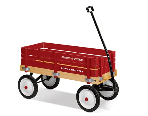 Radio Flyer Town and Country Wagon, Red, Red Wood, Model Number: 24X