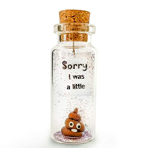 Sorry I was a Little - Cute and Funny Decorative Bottle with a Poop Inside - Forgive Me Present for Him or Her (Cute Decorative Bottle, Brown Poop - Apology Edition)
