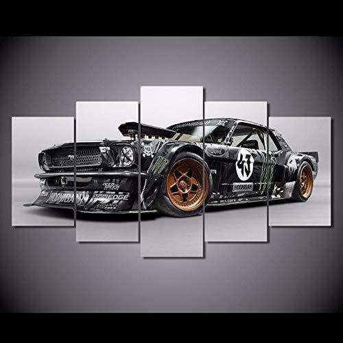 YJJPP Leinwand gedruckt Poster Home dekorative 5 Stück Ford Mustang RTR Auto Gemälde Wandkunst Bilder Wohnzimmer modular gerahmt