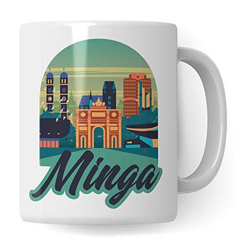 Minga Tasse Geschenk München bayerisch Kaffeebecher Dialekt Geschenkidee Stadt München Becher Münchner Spruch Kaffeetasse