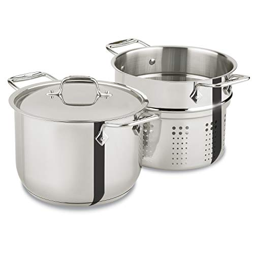 All-Clad E414S6 Stainless Steel Pasta Pot and Insert Cookware, 6-Quart, Silver -